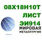 Лист 08Х18Н10Т, ЭИ914 сталь нержавеющая аустенитного класса ГОСТ 5632-72, ГОСТ 5582-75, ГОСТ 7350-77 в Челябинске