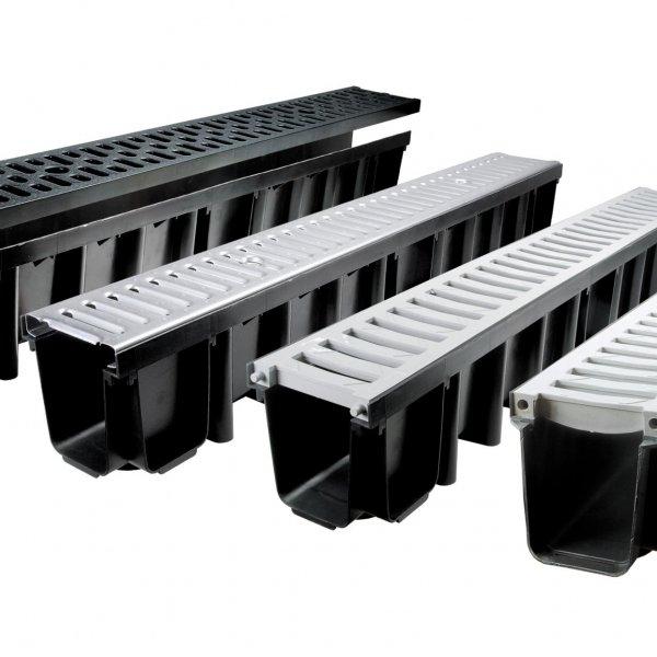 лоток водоотводный ЛВ -10.11,5.9,5 - пластиковый с решеткой РВ- 10.11.50 пластиковой ячеистой, кл. A15