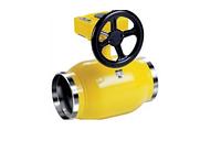 Кран стальной шаровой LD КШ.Ц.П.Р.100/080.025.Н/П.02 для газа сварка/сварка, c механическим редуктором